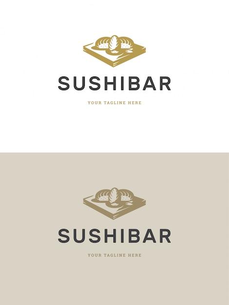 Illustration vectorielle de sushi restaurant emblème logo modèle Vecteur Premium