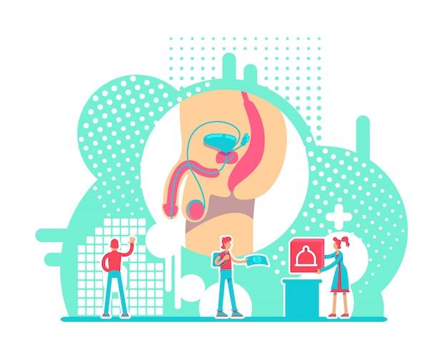 Illustration Vectorielle De Système Reproducteur Masculin Santé Concept Plat. Campagne De Prévention Des Mst Personnages De Dessins Animés 2d Vecteur Premium