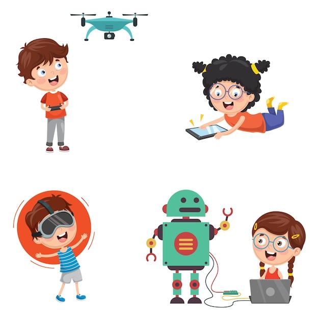Illustration vectorielle de la technologie des enfants Vecteur Premium