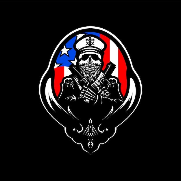 Illustration vectorielle tête de crâne logo avec drapeau de l'amérique Vecteur Premium