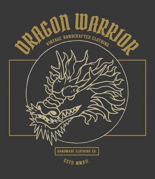 Illustration vectorielle de tête de dragon d'asie Vecteur Premium