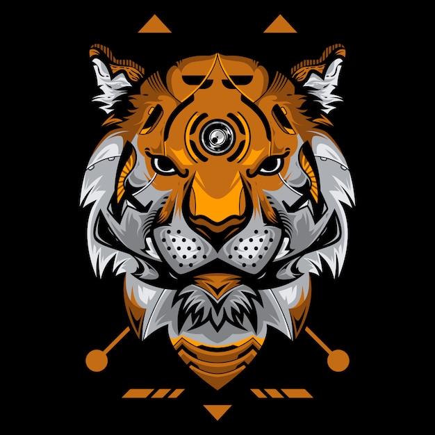 Illustration Vectorielle Tête De Tigre Parfaite Sur Fond Noir Vecteur Premium