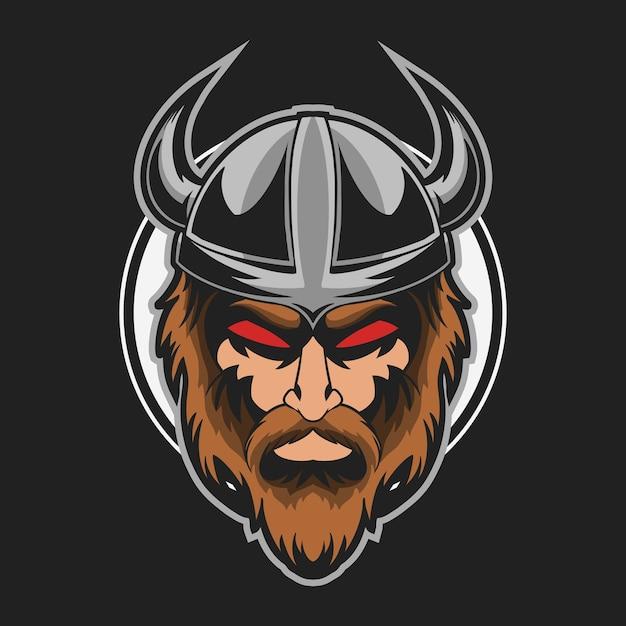 Illustration Vectorielle De Tête De Viking Mal Vecteur Premium