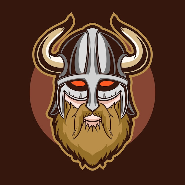 Illustration Vectorielle De Tête De Viking Yeux Rouges Vecteur Premium