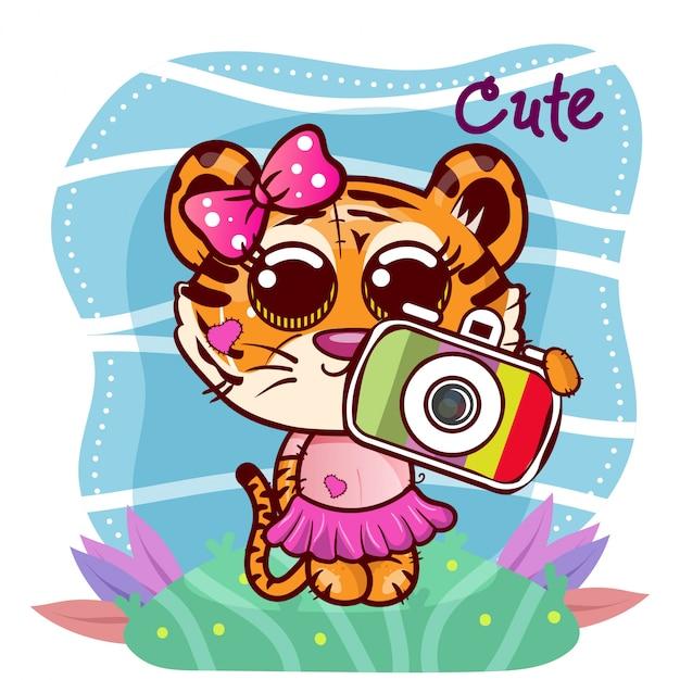 Illustration Vectorielle D'un Tigre Mignon Avec Caméra. - Vecteur Vecteur Premium