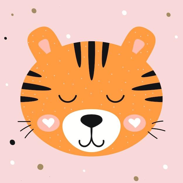 Illustration vectorielle tigre mignon de pépinière sur fond rose. imprimez des t-shirts, des vêtements, des cartes de vœux pour enfants. Vecteur Premium