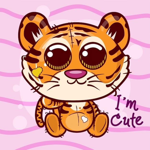 Illustration vectorielle d'un tigre mignon. - vecteur Vecteur Premium