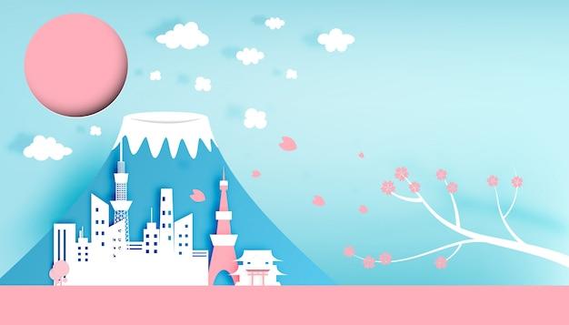 Illustration vectorielle de tokyo japon ville papier art style Vecteur Premium