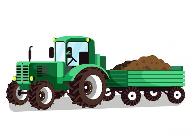 Illustration vectorielle de tracteur avec attache de chariot Vecteur Premium