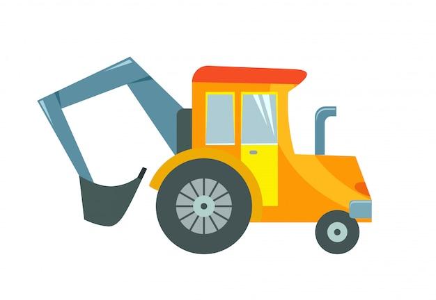 Illustration vectorielle d'un tracteur de jouet sur fond blanc. Vecteur Premium