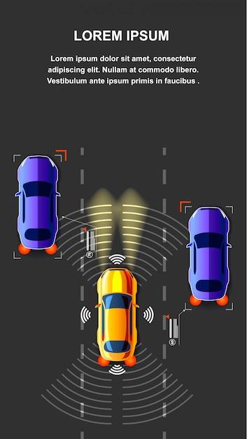 Illustration vectorielle de trafic de voiture autonome vue de dessus Vecteur Premium