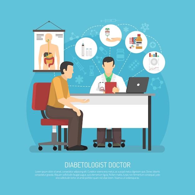 Illustration Vectorielle De Traitement Du Diabète Vecteur gratuit