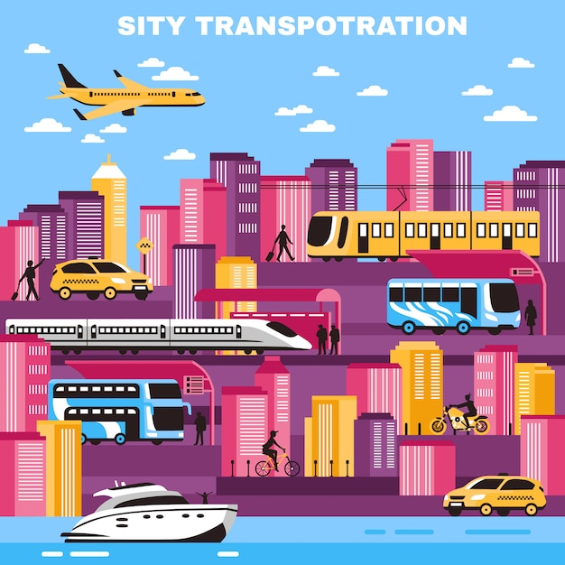 Illustration vectorielle de transport ville Vecteur gratuit