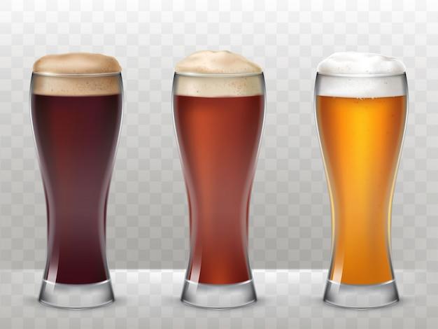Illustration vectorielle trois grands lunettes avec une bière différente isolée sur fond transparent Vecteur gratuit