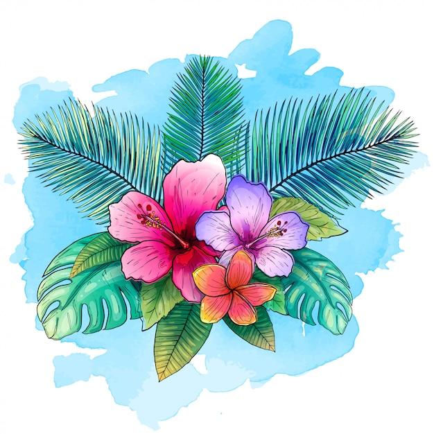 Illustration vectorielle tropical avec des feuilles de palmier exotiques, fleurs d'hibiscus avec style aquarelle bleu. Vecteur Premium