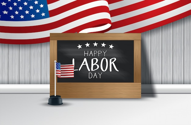 Illustration vectorielle de usa fête du travail de fond avec le drapeau usa, typographie de la fête du travail aux états-unis d'amérique Vecteur Premium