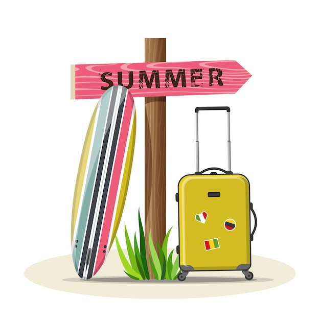 Illustration vectorielle de vacances été voyage Vecteur Premium