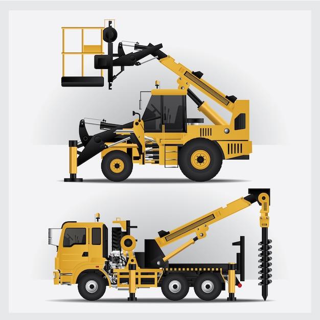 Illustration vectorielle de véhicules de construction Vecteur Premium