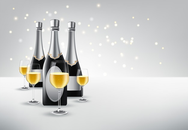 Illustration vectorielle de verre à vin avec une bouteille de champagne Vecteur Premium