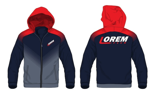 Illustration vectorielle de veste de sport à capuche. Vecteur Premium