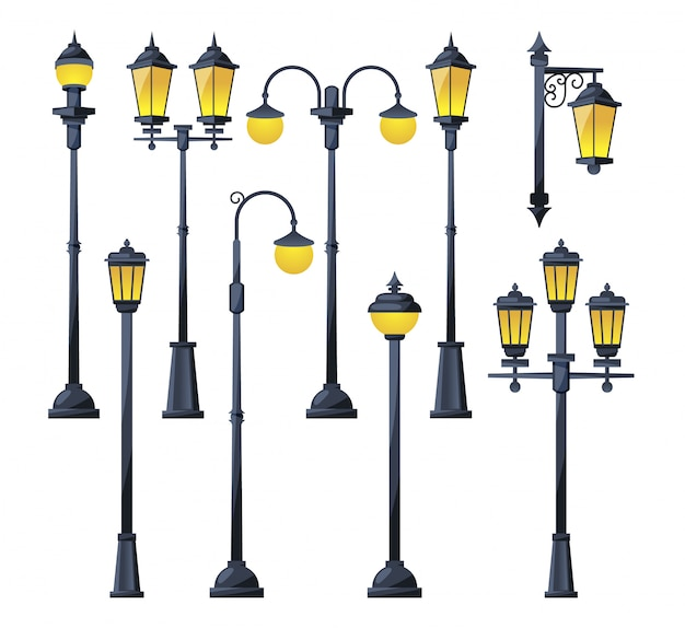 Illustration vectorielle de vieilles lampes de ville en style cartoon. Vecteur Premium