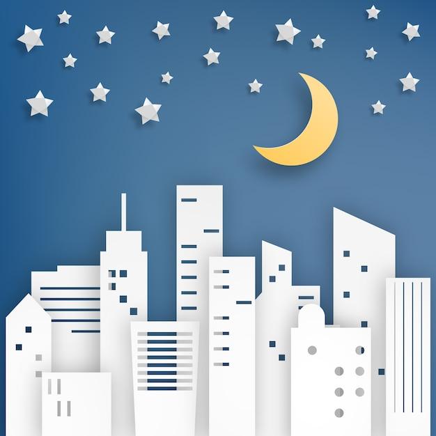 Illustration vectorielle de ville étoile papier art style Vecteur Premium