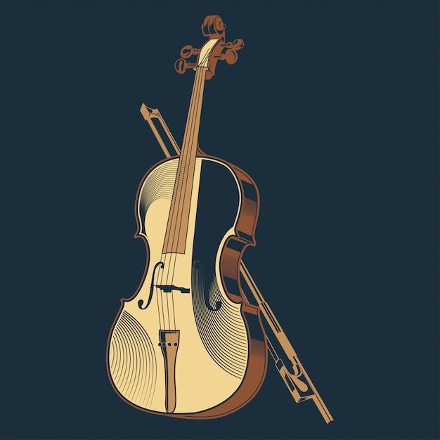 Illustration vectorielle vintage du violon classique Vecteur Premium