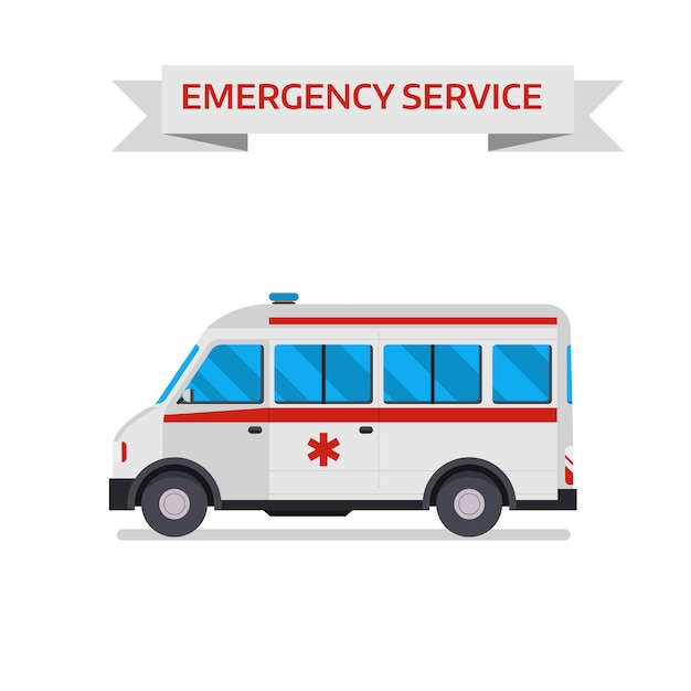 Illustration vectorielle de voiture ambulance Vecteur Premium