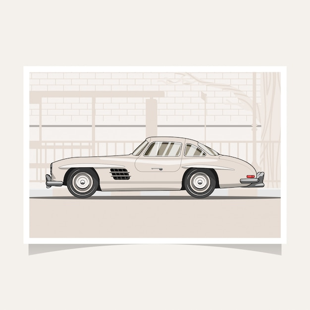 Illustration vectorielle de voiture classique design conceptuel plat illustration Vecteur Premium