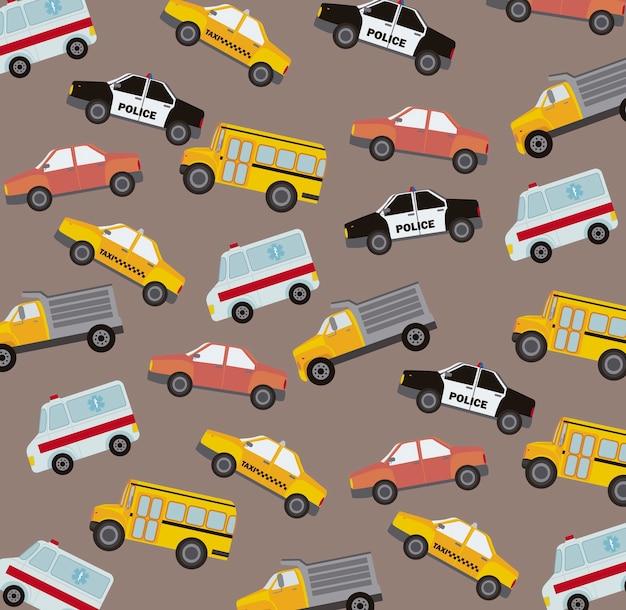 Illustration vectorielle de voitures mignonnes modèle style vintage Vecteur Premium