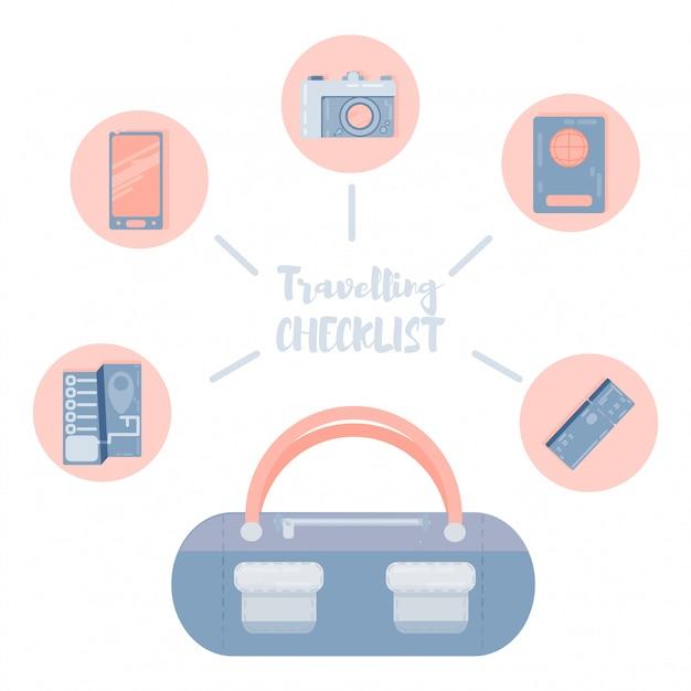 Illustration vectorielle de voyage valise dessin animé. vacances de vacances, dessin à l'étranger voyage plat. Vecteur Premium