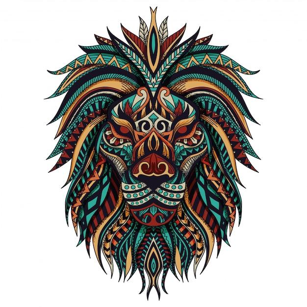 Illustration vectorielle de zentangle lion Vecteur Premium