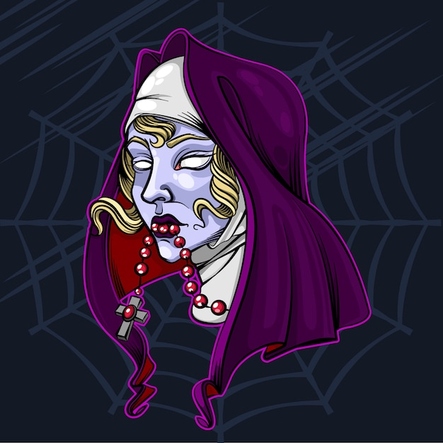Illustration Vectorielle De Zombie Halloween Nonne Vecteur Premium