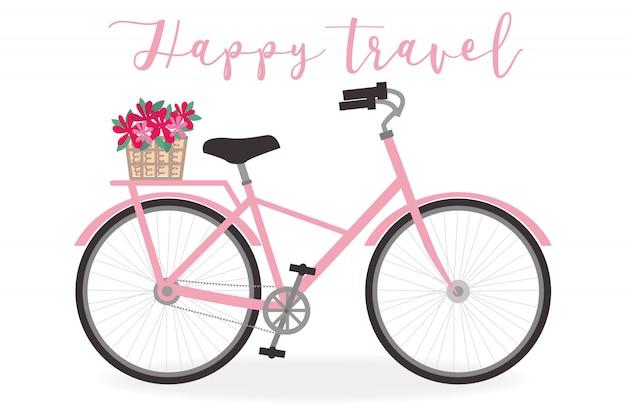 Illustration de vélo mignon pour le thème de l'été - art vectoriel Vecteur Premium