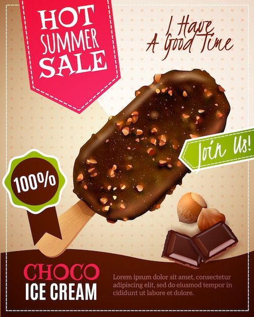 Illustration De Vente D'été De Crème Glacée Vecteur gratuit