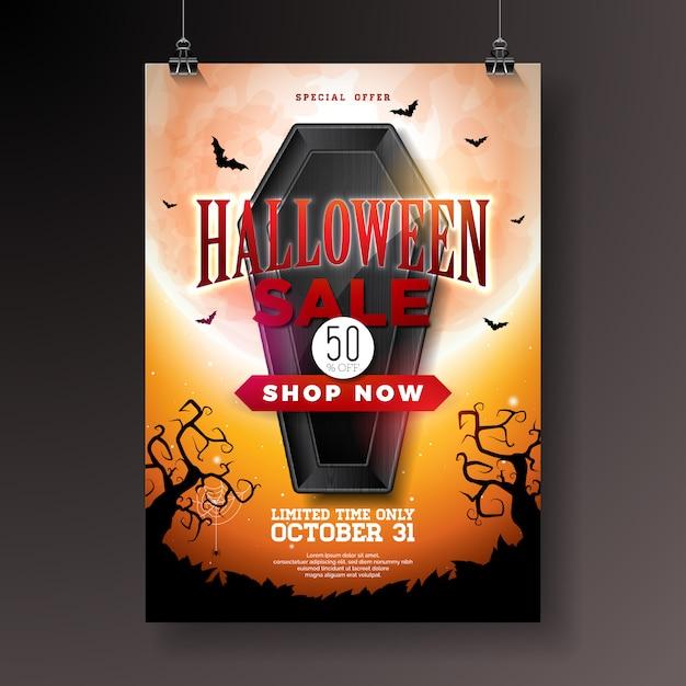 Illustration de vente d'halloween avec cercueil noir Vecteur Premium