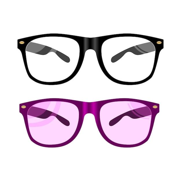 Illustration de verres de vecteur. lunettes à monture noire Vecteur Premium