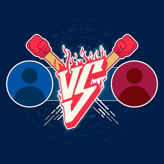 Illustration versus emblème de combat Vecteur Premium