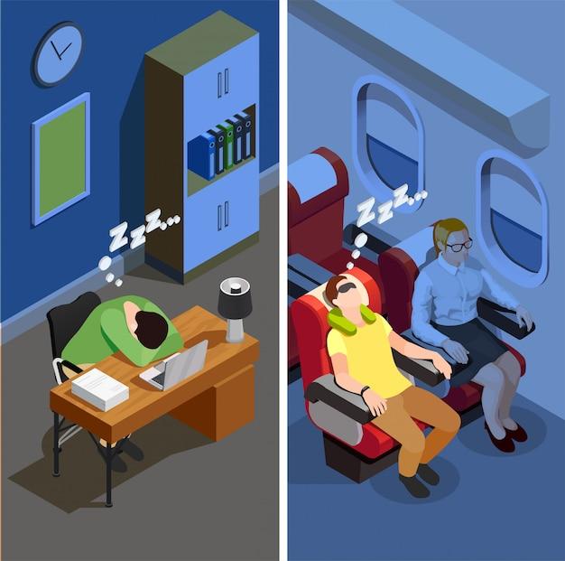 Illustration verticale isométrique du sommeil Vecteur gratuit