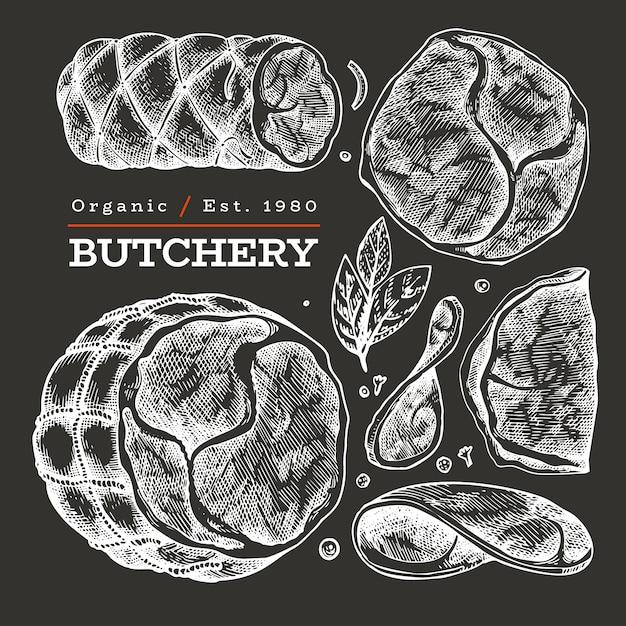 Illustration de viande vecteur rétro à bord de la craie. jambon dessiné à la main, tranches de jambon, épices et fines herbes. ingrédients alimentaires crus. croquis vintage Vecteur Premium