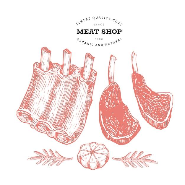 Illustration de viande vecteur rétro côtes levées, épices et herbes à la main. ingrédients alimentaires crus. croquis vintage. Vecteur Premium