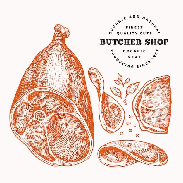 Illustration de viande vecteur rétro Vecteur Premium