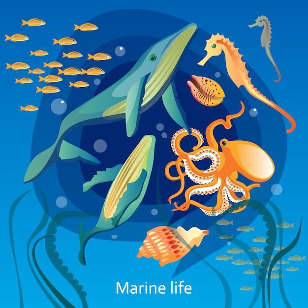 Illustration de la vie sous-marine des océans Vecteur gratuit