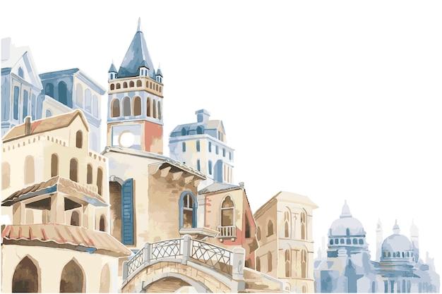 Illustration de la ville méditerranéenne bâtiment style de couleur de l'eau extérieure Vecteur gratuit