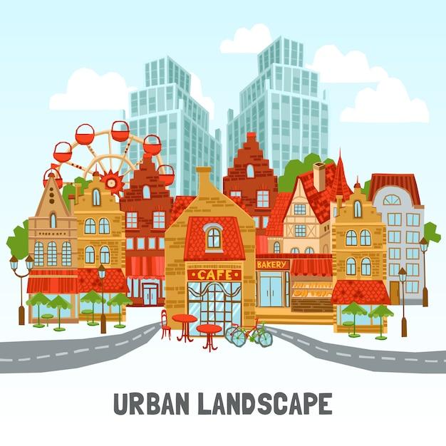 Illustration de la ville moderne Vecteur gratuit