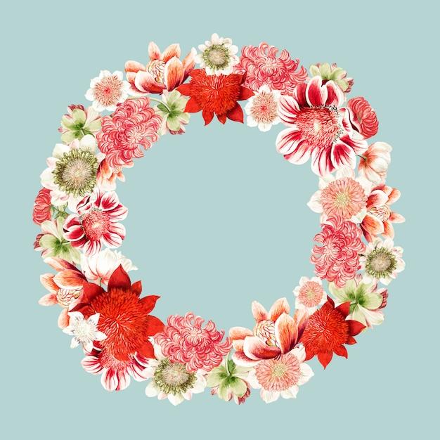 Illustration vintage de fleurs d'anémone en forme de couronne Vecteur gratuit