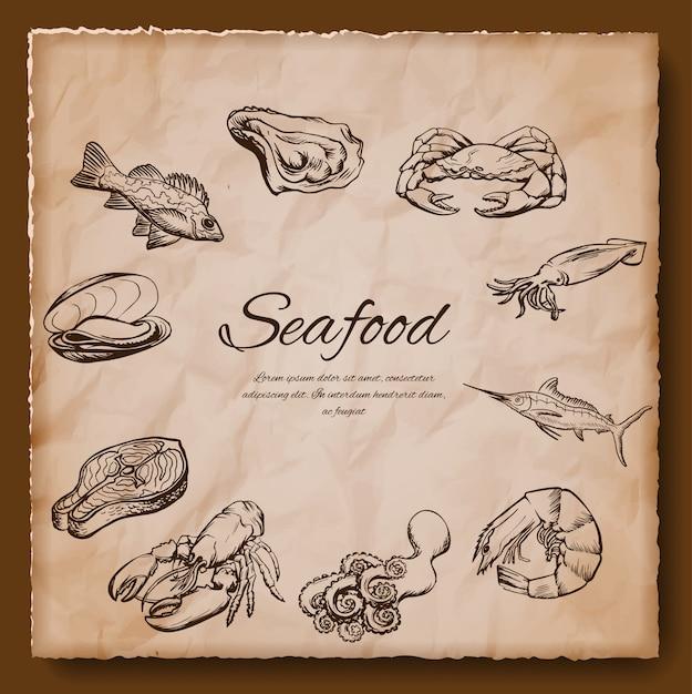 Illustration vintage de fruits de mer Vecteur Premium
