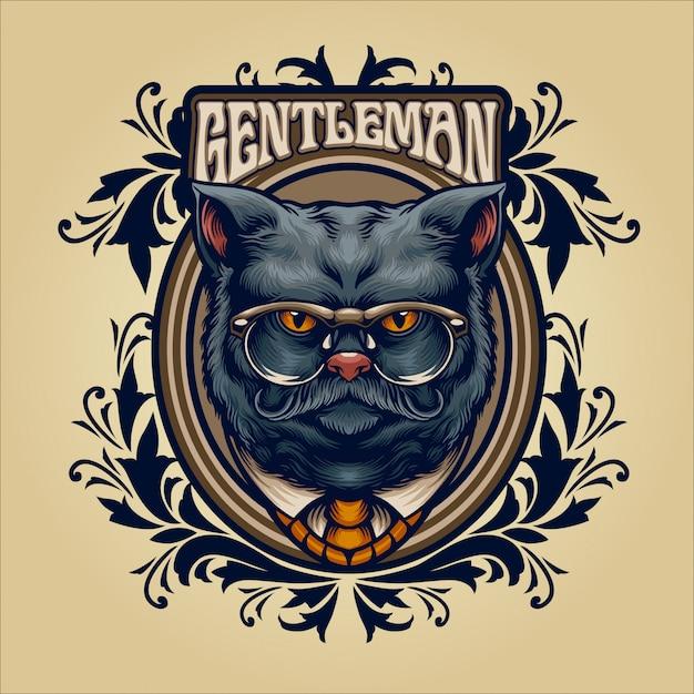 Illustration vintage de gentilhomme chat gris Vecteur Premium