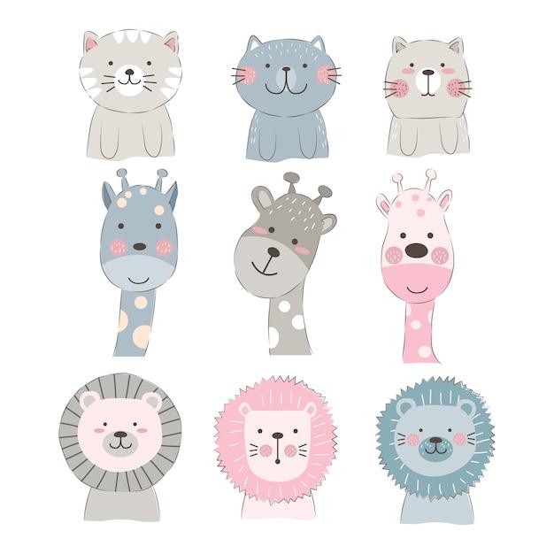 Illustration de visages d'animaux mignons Vecteur Premium