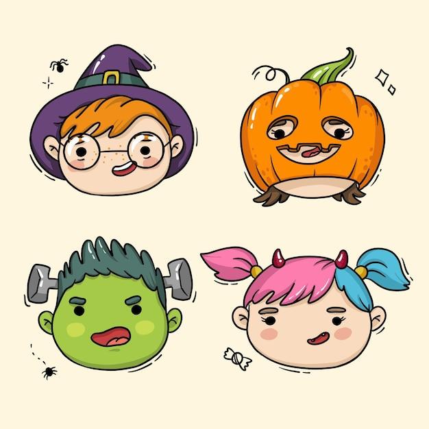 Illustration De Visages D & # 39; Enfants Pour Halloween Vecteur Premium